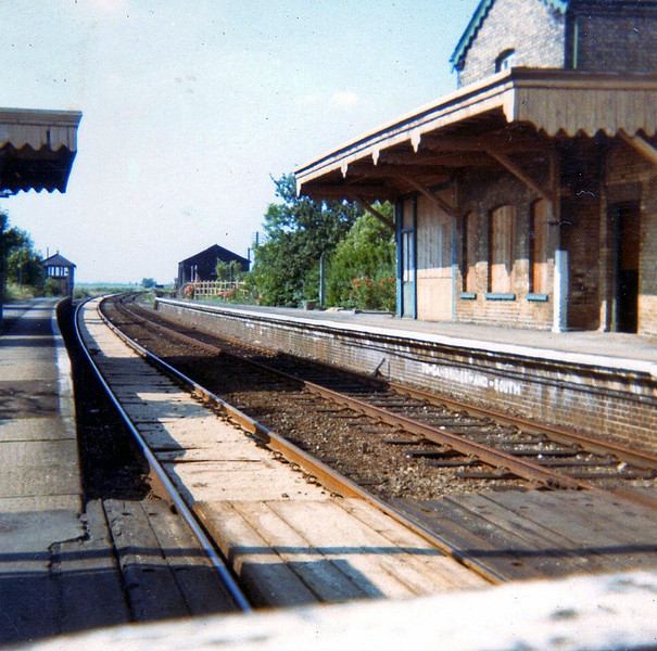 Oakington in July 1973 with the signal box still in position.The goods shed can be seen to the right. The station is largely intact three years after closure of the passenger service.
