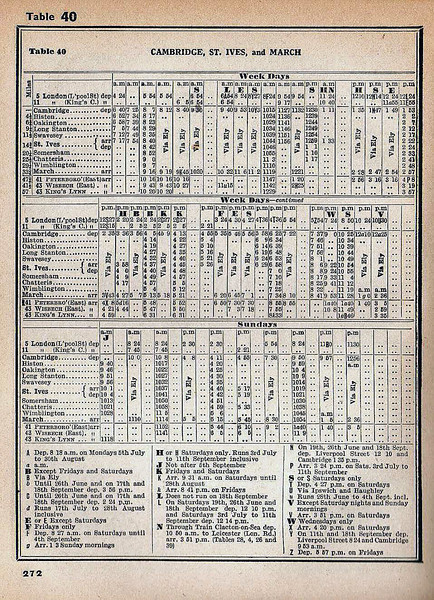 The Cambridge- St Ives-March timetable from the summer of 1954. Of interest is the column marked HN on the weekdays section which was a through train from Clacton to Leicester running summer Saturdays only. It took the Stour Valley line at Marks Tey via Haverhill then on to Cambridge and St Ives. It then took the Huntingdon East line to Kettering and up the main line to Leicester.<br /> The column marked J on the Sunday timetable is a through train to Hunstanton from Histon stopping at all stations to Wimblington. It then worked non stop to Kings Lynn via March, Wisbech and Magdalene Road.