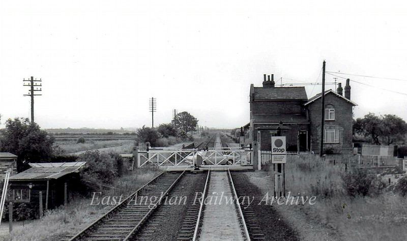 Longstanton viewed from the brake van of a Fen Drayton bound sand train. 24th June 1975.