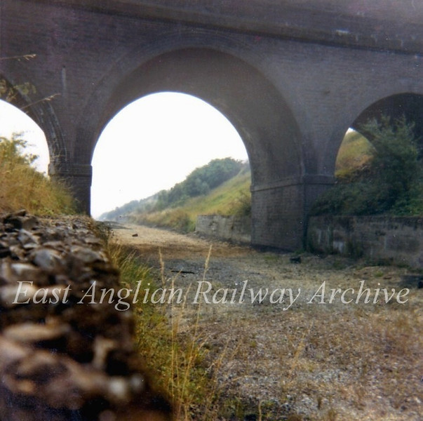 The three arch Bluntisham Heath Road bridge between St Ives and Somersham viewed from inside the cutting in September 1972. In three years time the process of land fill would begin here and soon the bridge would disappear from sight.