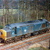 37131 pauses near Histon bypass bridge while the guard shuts the gates at the station. Judging by the clean area around the engine number, the new TOPS number has recently been added. Its previous number was D6831. The loco was scrapped on 14th April 2007 at Booths of Rotherham.  Image dated 25th March 1974.