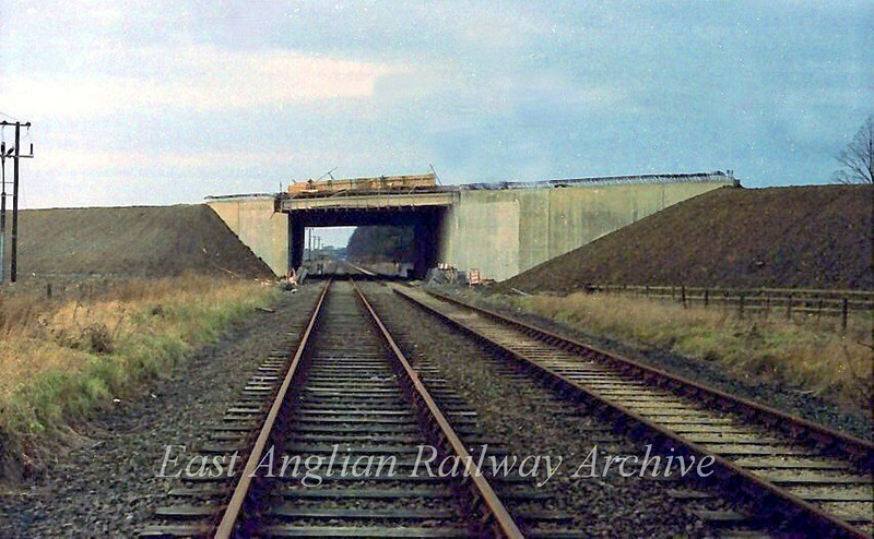 The construction of the A14 Bridge. The view is towards Histon on  27th December 1977. It will be another year before the A14 opens. The bridge here was constructed with sufficient clearance to allow for potential electrification. An idea which of course didn't materialise.