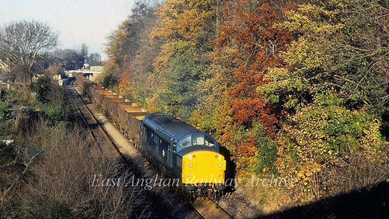 An unknown Class 37 leaves Histon with sand from Fen Drayton.. Autumn 1981. Viewed from the Histon Bypass bridge