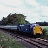 37089 is approaching the A14 Bridge with a combined churches special from Histon to Lowestoft.  21st June 1980