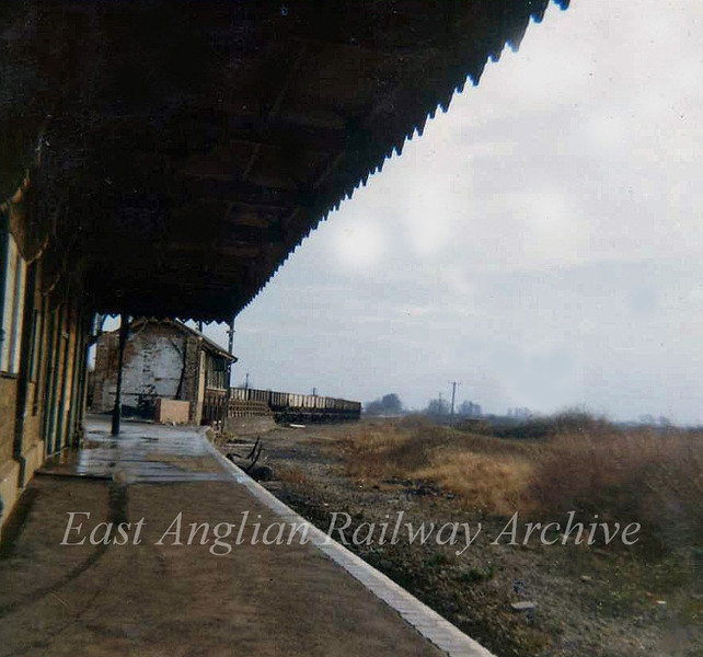St Ives  Kettering Branch Platform looking towards Swavesey on 2nd February 1974. The signal box at the end of the platform appears to be intact.