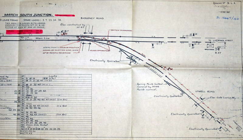End of the line where it joined the Ely to March line at March South Junction. Track plan of the signal box in 1967. Plan thanks to Richard Pike.