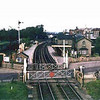 Histon Station viewed facing north east from the Down home signal. c1960  The goods yard to the left looks like it is still being used.