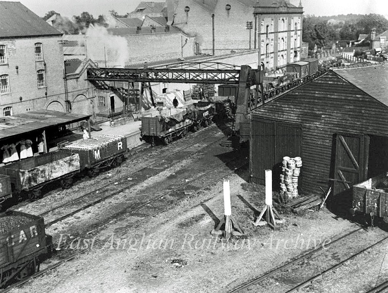 Chivers Sidings c1903.  Photo thanks to Mrs Eleanor Whitehead.  The sidings closed in 1967. At the end of steam traction c 1962 regular visitors to the sidings were Cambridge based Ivatt 2MTs notably 46465/6.