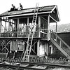 The demolition or dismantling? of Swavesey Signal Box.  Early seventies. Photo thanks to Richard Pike.