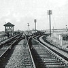 Needingworth Junction c1960 showing the signal box which had a sixteen lever Saxby and Farmer frame. Opened in 1878, closed 10th June 1965. The line to Ely went off to the right. In the distance on the GN and GE Joint line to March can be seen the three arched bridge carrying Bluntisham Heath Road over the line.