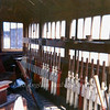 The 34 lever frame at Histon box showing a good view of the up signal levers to the left. The white levers are spare and were used in connection with Chivers Sidings. The blue levers to the left are for the up goods loop facing point locks and switching.  April 1973.