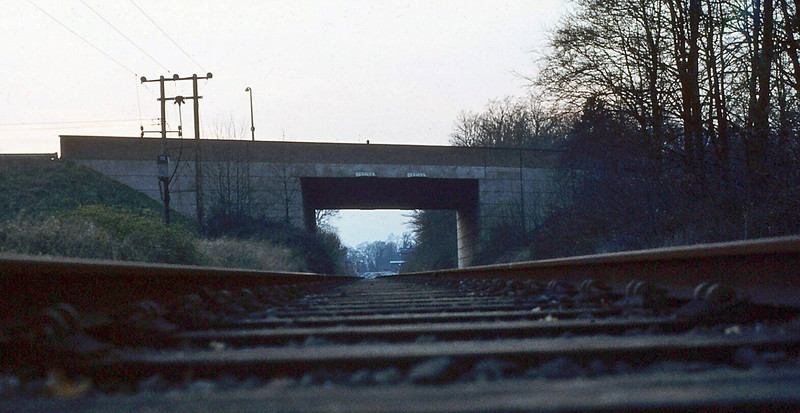 An unusual view of Histon Bypass Bridge. c1981