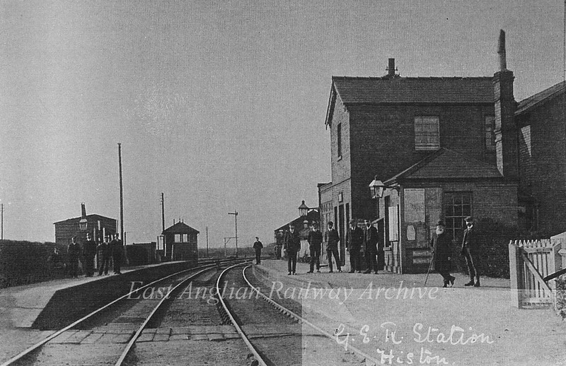 Histon Station and Staff in 1900. The Station Master, Charles Paige, is the man with the beard. Photo Alice Paige. With thanks to Mrs Eleanor Whitehead.