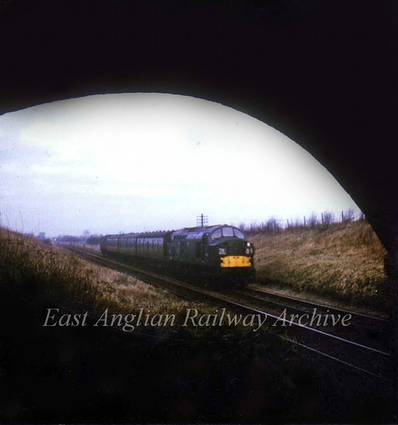 Class 37 D6723 passes Windmill Bridge with the last up parcels to use this route,  4th March 1967. Photo with kind permission of Stewart Ingram.