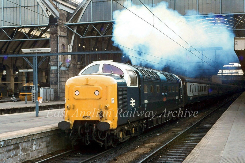 You can almost imagine the unmistakeable Deltic sound as 55015 Tulya departs from Kings Cross with the 1405 to York on 4th April 1980.
