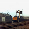 D9000 waits at Huntingdon on 26th March 1974. In the background, construction work is taking place for the A14 flyover. The goods shed can be seen to the left.