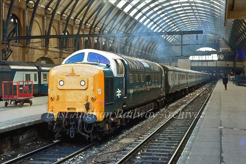 "55015, Tulya,  simmers at Kings Cross waiting to depart with the 1405 to York on 4th April 1980. This particular Deltic holds special significance. As a young boy it was the only Deltic not underlined in my Ian Allan locospotters book  and it stayed elusive for a long time.  D9015 was eventually seen at Huntingdon in 1964 and I had then indeed ""copped"" the lot."