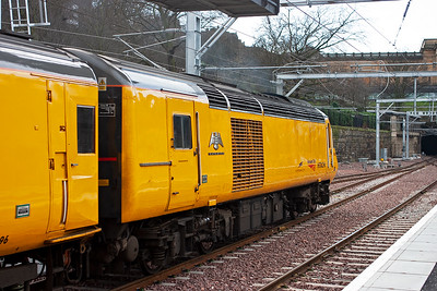"""In 2021 all the talk is about """"hybrid"""" trains being diesel and OLE capable or running on batteries.  Back in 2008 this technology was being tried.  Class 43 powercar 43089 is part of Network Rail's New Measurement Train.  It can take power from its diesel powerplant and also from batteries carried in the first coach.  It carries the name """"Hayabusa"""" which means """"Falcon"""" in Japanese.  28/1/2008"""
