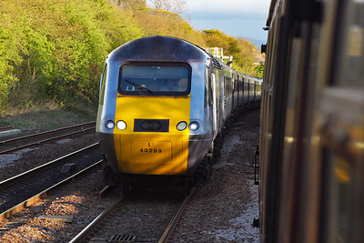 This is strictly not Edinburgh but Dalmeny but I'm going to include the next few photos here.  43299 leads 1S20 1400 Kings Cross to Aberdeen and it passes K4 61994 and its support coach which are in the down passenger loop at Dalmeny to allow a few trains to pass us.  24/4/2012