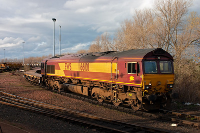 During a loco and coach run from York to Thornton with A4 60009, we run into Millerhill yard and 66101 is present with a rake of engineers wagons.  7/4/2009