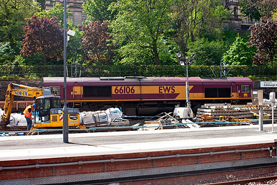 In early 2007 there was extensive rebuilding work being undertaken at Waverley and on this visit 66106 is employed with a rake of spoil wagons.  20/4/2007