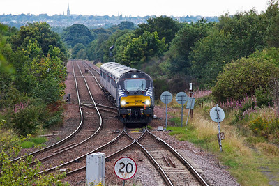 This is the train I specifically wanted to see, the second of the two ECS loco hauled ScotRail trains operated by DRS. Prominent on the skyline is the tall spire of Marchmont St Giles' Parish Church.
