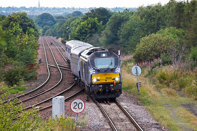 """The six mkII coach train is hauled by brand new type 5 68006 """"Daring"""" and is on hire to ScotRail and is in their Saltire livery, as is the coaches."""