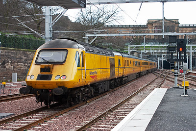 On the rear is conventional powercar 43014 and the set departs Waverley as 1Q22 1036 MO Q Heaton to Glasgow Queen Street Measurement Train.