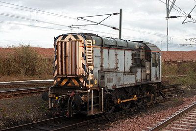 Parked up at the end of a siding is class 09 shunter 09014