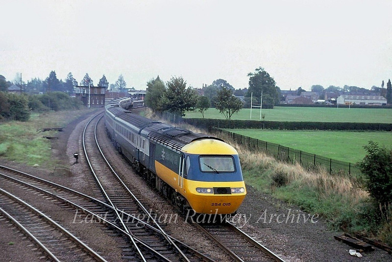 East Coast Main Line diversion. 254015 heads north at March West Junction. 23rd September 1979.