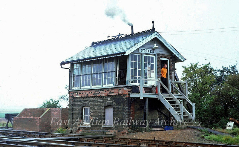 Stonea Signal Box.  23rd September 1979. Looks like the stove is going well.