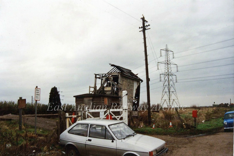 Padnal Box and Crossing viewed from the road, after a serious fire in December 1989. Photo with kind permission of Richard Pike.