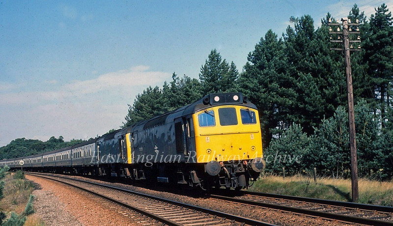 25125/25132 pass Santon Downham between Brandon and Thetford with the 0800 Walsall to Yarmouth.  5th September 1980.