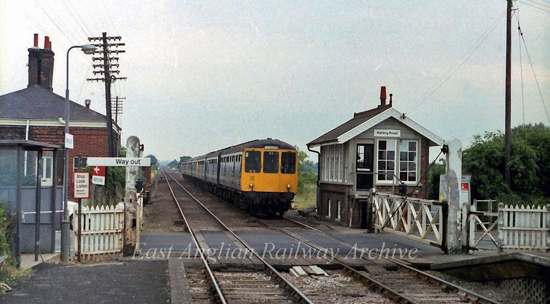 The 0750 Norwich to Cambridge arrives at Harling Road on 16th July 1979.