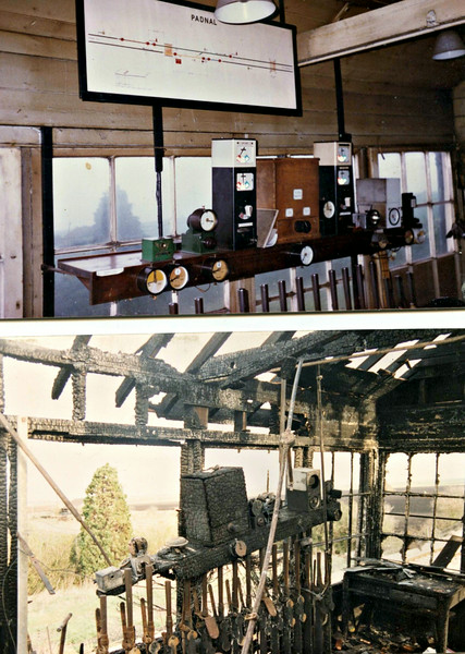 Padnal Box before and after the fire.  December 1989. Photo coutesy of Richard Pike.