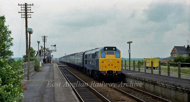 The 0915 Summer Saturdays only Yarmouth to Manchester speeds through Shippea Hill with 31220 in charge.  22nd July 1978