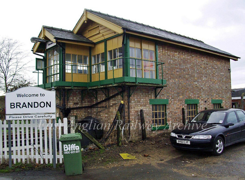 Brandon Signal Box on 31st December 2009. The wheel operated crossing gates  here were replaced by barriers on 21st December 1975, the last wheel operated gates in the Norwich Division of BR.