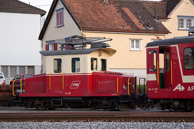 Two of the Appenzellerbahn's older pieces of rolling stock were stabled in Appenzell, Te 2/2 49 and De4/4 50. 22/03/11