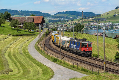Re4/4 420 276 leas a short consist past Immensee on 28 June 2016