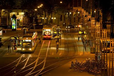 Trrams outside the Hauptbahnhof Karlesruhe on the evening of 12/09/12