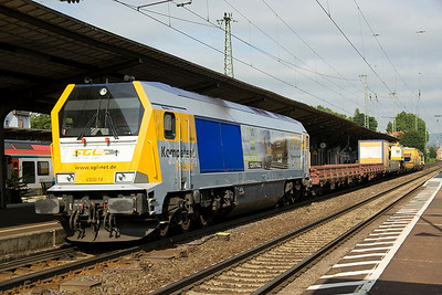 Voith maxima 40cc  no V500.14 heading through Neuwied with an infrastructure train on 27/6/12