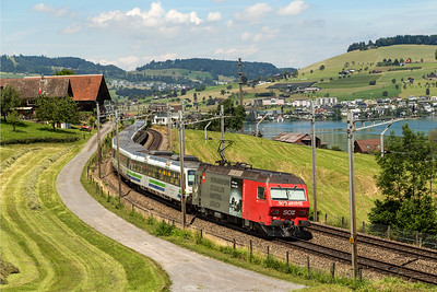 The Voralpen express is an hourly service running between Lucerne and St Gallen - run by the Sudostbahn.   Trains are either top and tailed by these class 456 or loco and DVT with an Re 446.  Here 456 095 is on the tail
