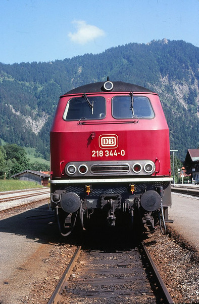Diesel Hydraulic Class 218 at Bayrischzell in the Bavarian Alps. June 1981