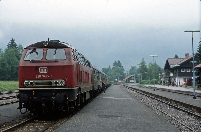 Diesel Hydraulic Class 218 somewhere in Bavaria. June 1981
