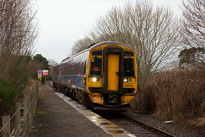 My first photo of 2020 and 158711 runs into Fearn station with 2Z95 0955 Inverness to Tain, an STP path.  The former staggered down platform is located under the trees and long grass to the right of shot.  2/1/2020