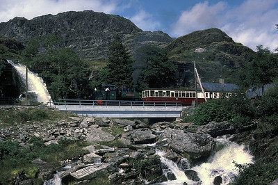 The Afon Cwmorthin is in full spate as Mountaineer leaves Tanygrisiau 	27/07/87