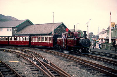 Fresh from rebuilding and a new coat of paint - Merddin Emrys at Porthmadog 30/4/88