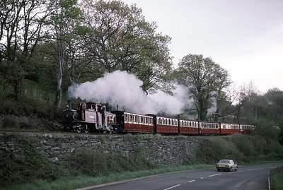 Newly launched – Merddin Emrys  at Rhiw Plas 30/4/88