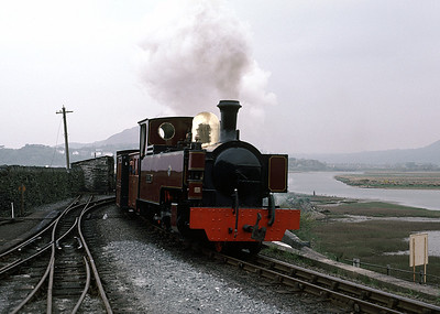 Russell passing Boston Lodge with train to Rhiw Goch 30/4/88