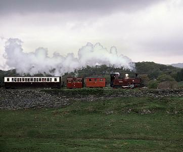 Russell at Gwyndy with train to Rhiw Goch 30/4/88